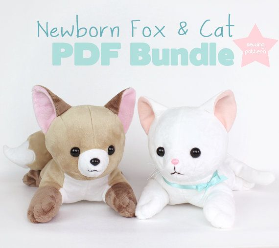 Cat and Fox stuffed animal sewing patterns - Easy DIY plush PDF - laying softie soft toy 15""