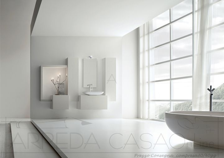 Arredo Bagno bianco lavabo appoggio Kar24 | Prezzo ARREDACASAOnLine