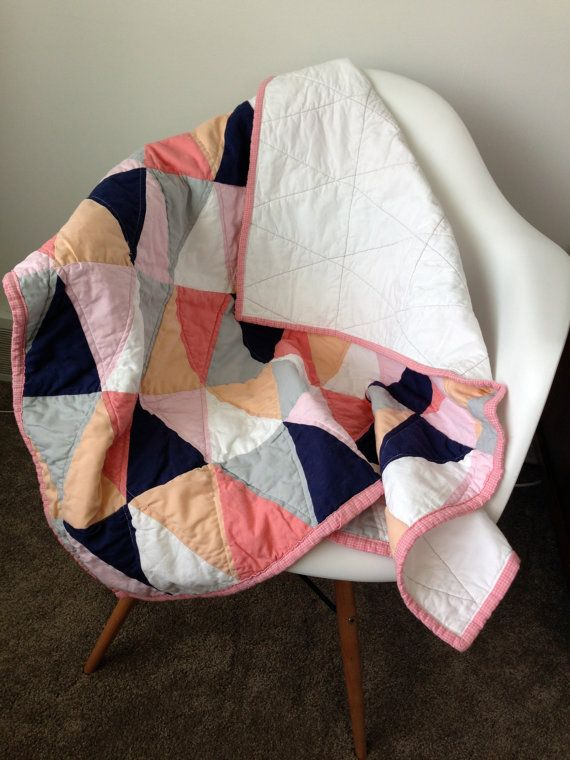 Modern Triangles Baby Quilt Baby Boy Baby Girl MADE by boltandbias