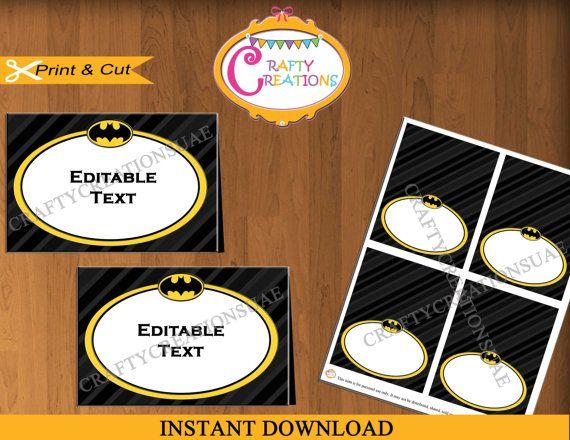 Batman Food Tent Cards Batman Food Labels by CraftyCreationsUAE