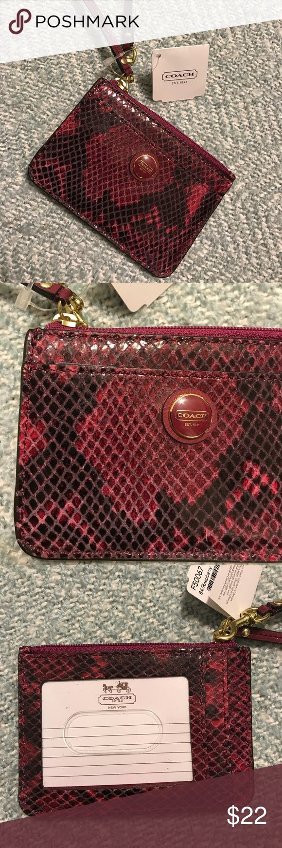 NWT COACH luggage tag NWT COACH luggage tag. Raspberry colored snakeskin. Beautiful! Coach Other