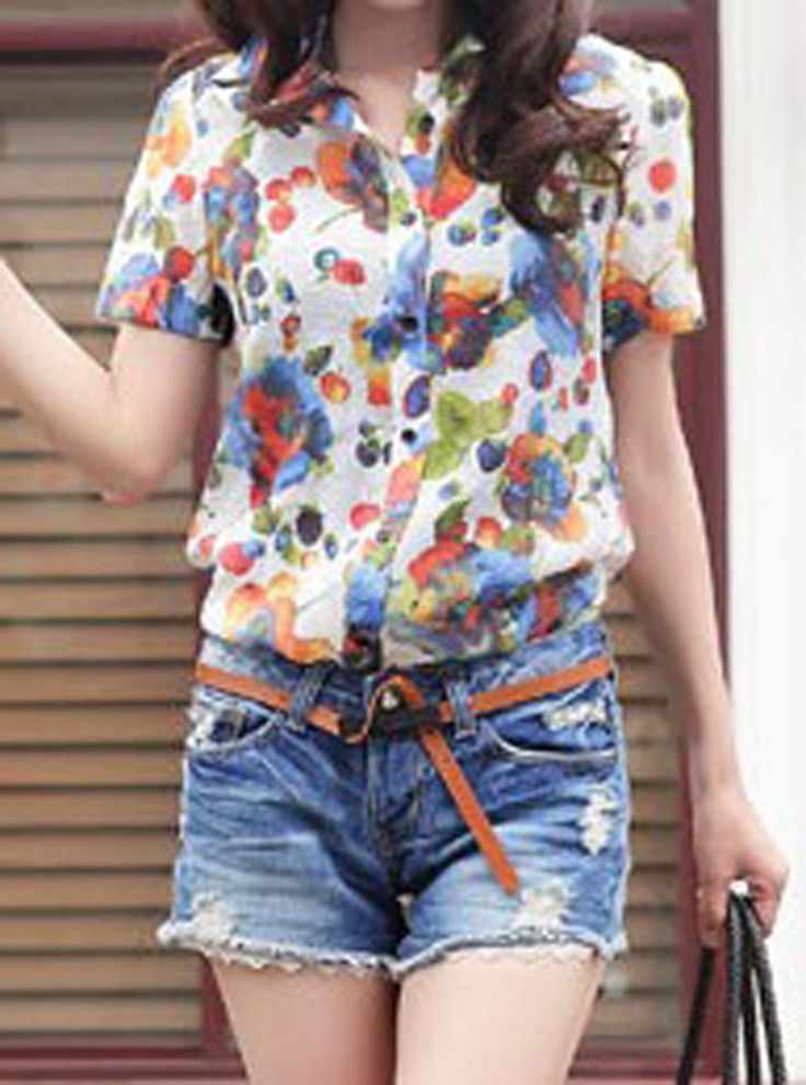 Blue Floral Print Short Sleeve Collar Curved Hem Shirt..love