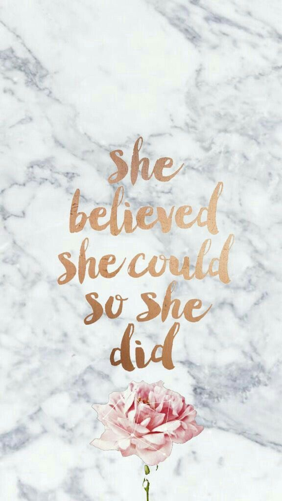 """Marble design with """"she believed she could so she did"""" inspirational quote with ... iPhone X Wallpaper 335236766009049689 2"""