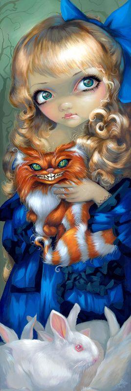 "Alice Enchanted - Original Acrylic on Board - 36""H x 12""W by Jasmine Becket-Griffith"