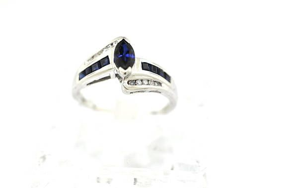 10k White Gold Sapphire And Diamond Ring Size 6 75 10k White Gold Blue Sapphire And Diamond Ladies Ring 5mm X 4mm Marquise Blue Sap Rings Sapphire Diamond