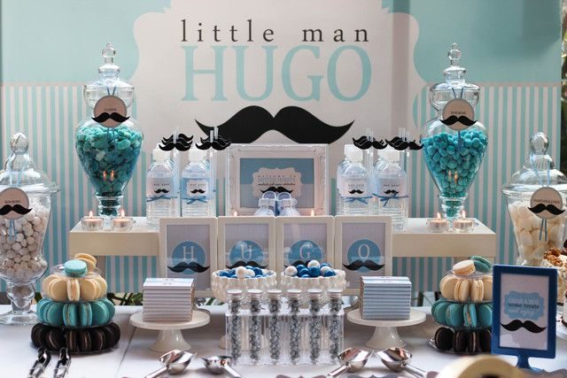 Awesome dessert table at a Little Man party!  See more party ideas at CatchMyParty.com!  #mustache