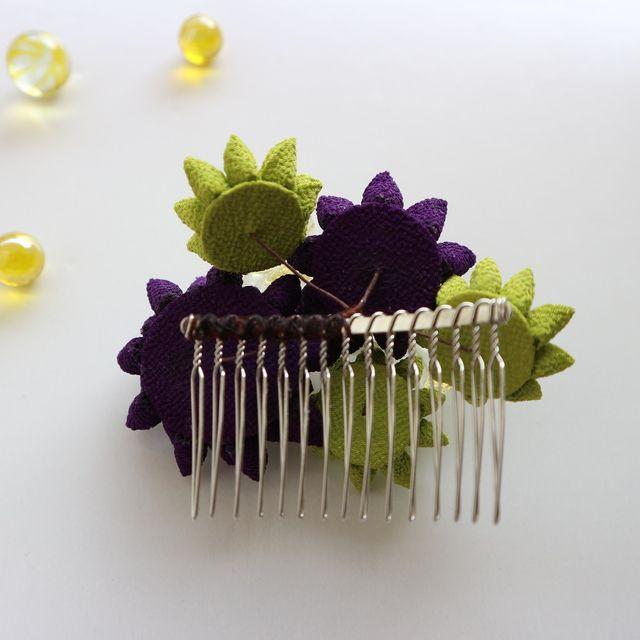 夏 浴衣 髪飾りコーム 紫音 つまみ細工