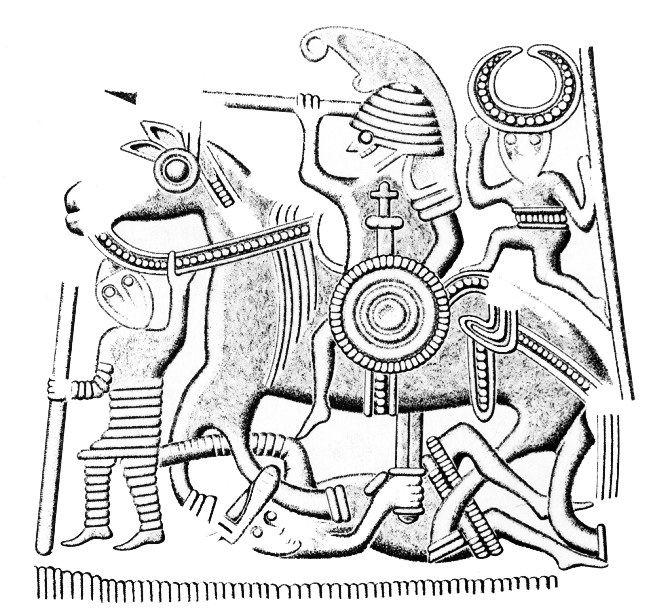 El 'guerrero caído' clava su spatha en el vientre del caballo de su matador. Diseño de la chapa de recubriemiento del casco de la tumba VIII de Valsgarde. Cultura Germánica nórdica. Ante quem 625-650 d.C.