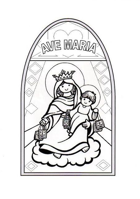 El Rincón de las Melli: Nuestra Señora del Carmen: Vitral para colorear