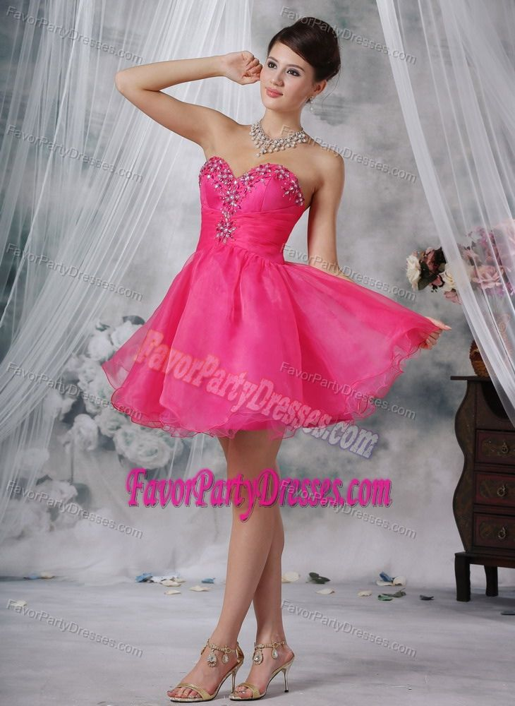 Sexy Beaded Sweetheart Hot Pink Mini-length Party Dress for Quinceanera