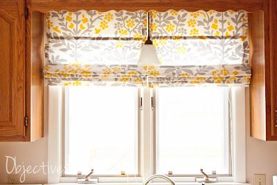 Easy, NO SEW roman shades (for 4.50!)  Made with mini blinds!