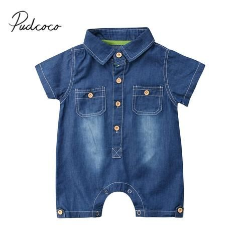 547e9414a55f 2018 Brand New Newborn Toddler Kids Baby Boy Girl Denim Romper Jeans  Jumpsuit Outfits Costume Short