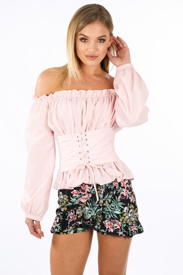 Pink Bardot Gyspy Top With Lace Up Bodice