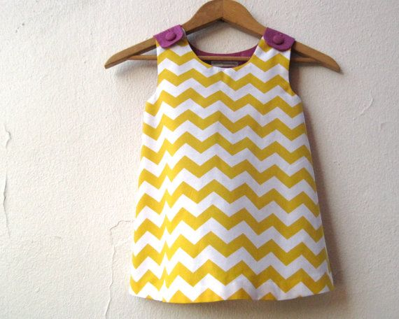 The Ava Dress - toddler girls dress in gold yellow geometric chevron and purple / mod spring fashion (ready to ship, size 2T). $60.00, via Etsy.