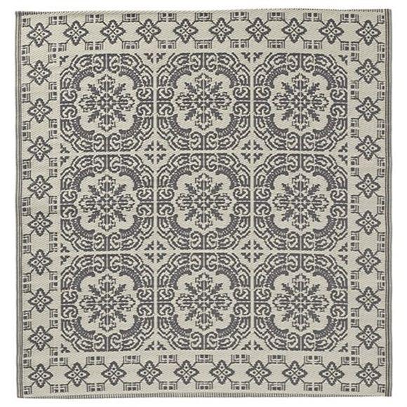 Tapijt voor buiten Lene Bjerre Aldine Vloerkleed Grijs/Wit - 150 cm