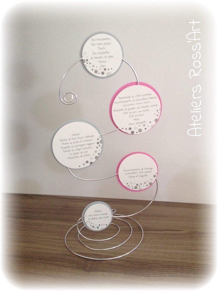 Menu baptême original fil aluminium bulle rose et gris : Autres papeterie par ateliers-ross-art