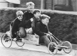 Go-kart with pram wheels....and if you lived in Wales it was a Gambo! In Glasgow it was a Bogey!