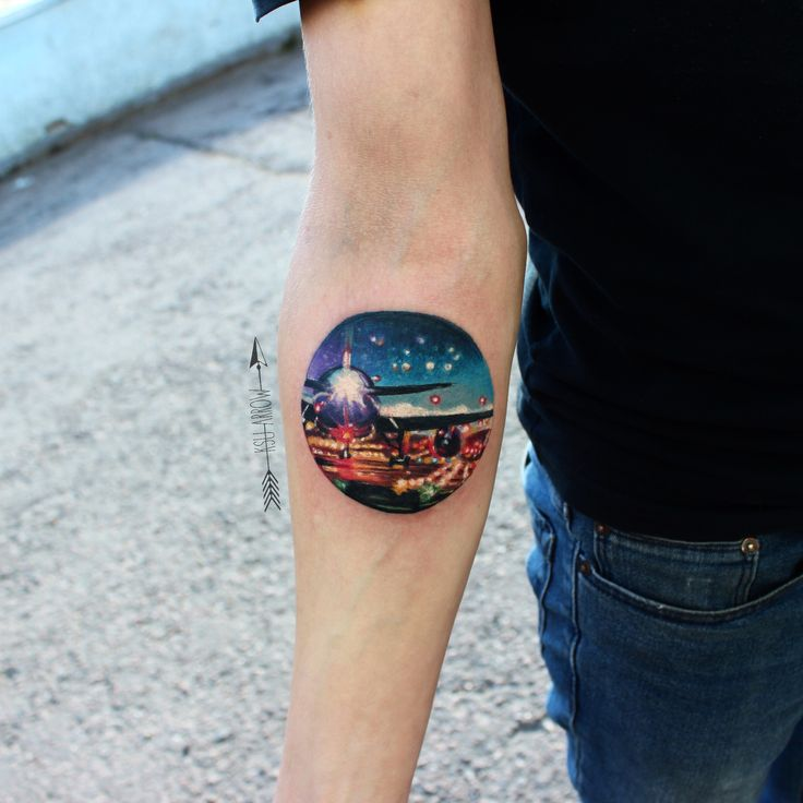 #татуировка #tattoo #ink #pilot #sky #planetattoo #nighttattoo #ksuarrow #тату #landscapetattoo
