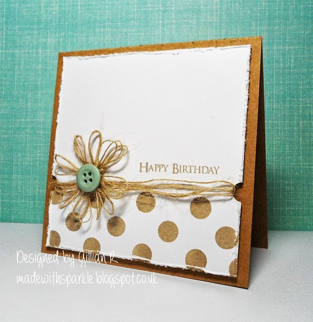 A kraft card base distressed paper and a twine flower provide a rustic look on this DIY birthday card.  Love the gentle pop of color with the light green button.