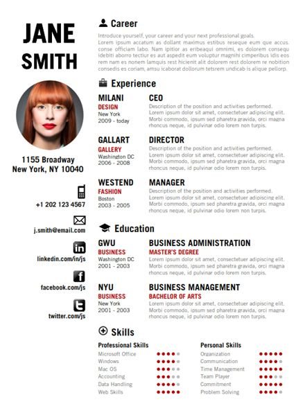 Find the Red Creative Resume Template on www.cvfolio.com