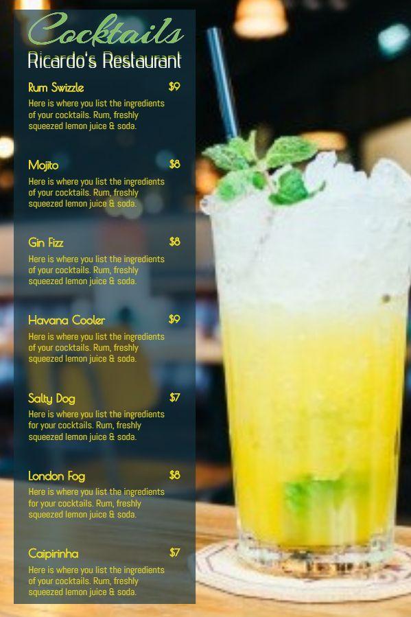 Printable Cocktail Bar Menu Template Design Cocktail Menu Menu Template How To Squeeze Lemons