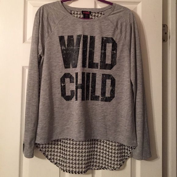 Wild Child shirt Junior top. Grey with sheer black and white houndstooth back. Hybrid Tops