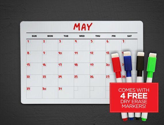 Acrylic Dry Erase Calendar  Wall Calendar  Fridge Dry Erase