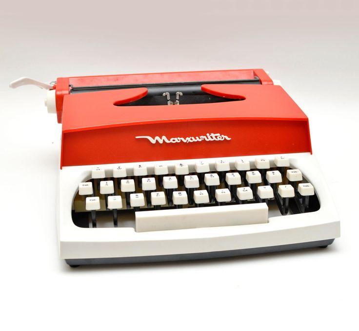 Vintage Marxwriter Toy Typewriter Red and White with Original Box by vtgwoo on Etsy