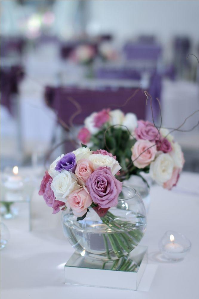 Purple Lisianthus, pink and white Rose centerpiece 2 by Tirtha Bridal Uluwatu Bali