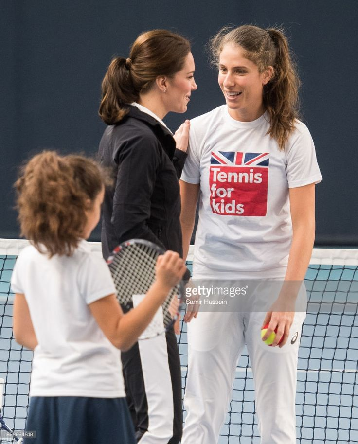 Catherine, Duchess of Cambridge speaks with Johanna Konta as she visits the Lawn Tennis Association at National Tennis Centre on October 31, 2017 in London, England. The Duchess of Cambridge became Patron of the LTA in December 2016.