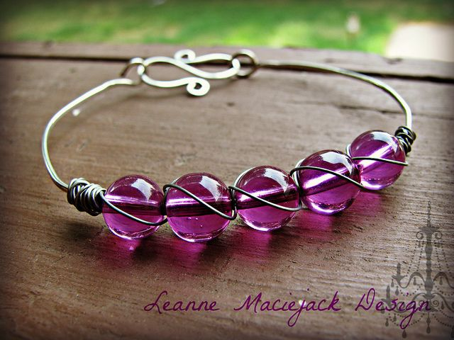 Purple Wire-wrapped Bangle - Leanne Maciejack Design
