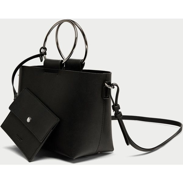 MINI TOTE BAG WITH METAL HANDLES - View all-BAGS-WOMAN | ZARA Ireland (€29) via Polyvore featuring bags, handbags, tote bags, metal tote, mini tote, metal purse, mini purse and tote hand bags