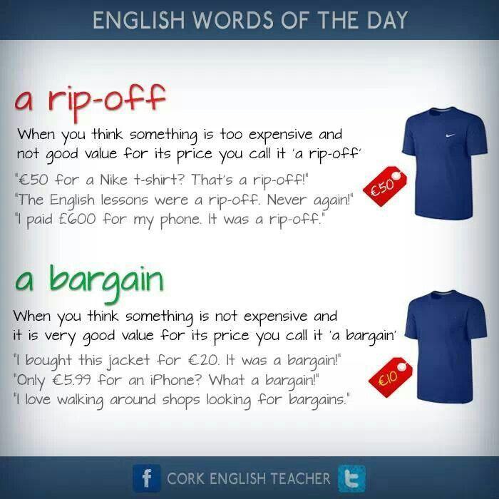 rip-off, #bargain in english