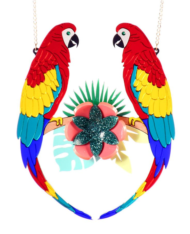 Colourful Parrots statement necklace, In the jungle we can see a couple of beautiful, colourful parrots sitting on the highest branch of a tree amongst the flowers, as they emulate the sounds of other wild animals.  Laser-cut mirror parrot acrylic with green swarovski elements and bent flowers on a beech wood branch and green opaque leaves. Made and assembled by hand.  LIMITED EDITION to 15 pieces.