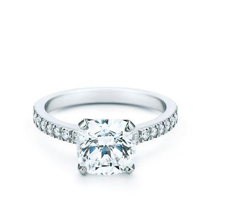 Tiffany Novo cushion-cut diamond ring.