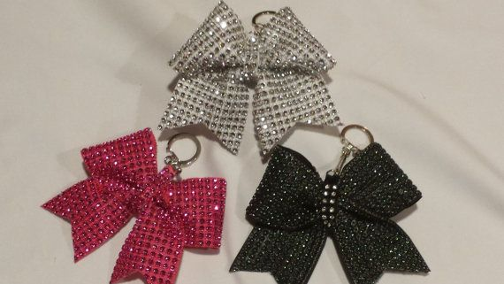 Sparkly Cheer Bow Keychains Solid Bling Ribbon on by BowheadNation, $7.95
