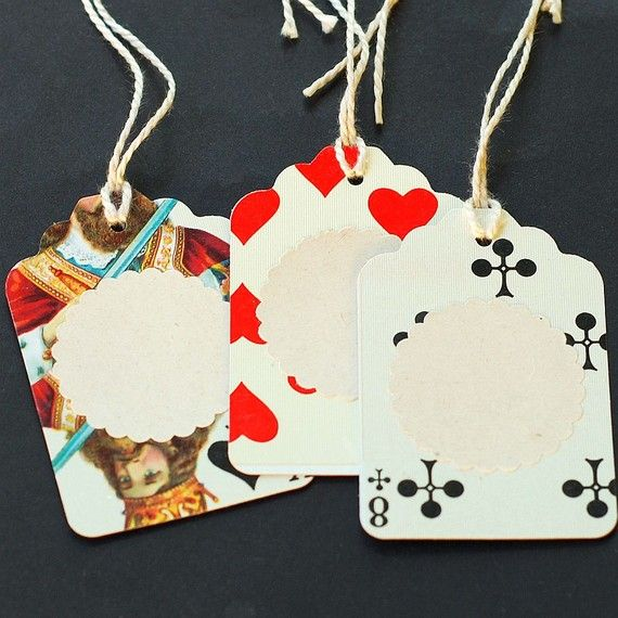 Recycled playing cards gift tags.