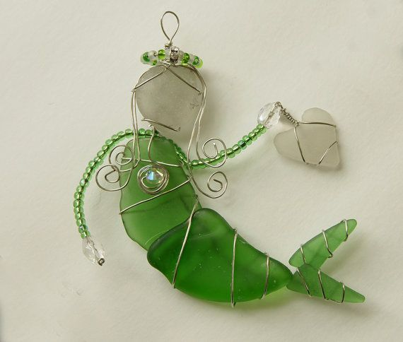 Aqua Sea Glass Mermaid Ornament Suncatcher or by oceansbounty, $25.00