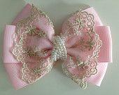 newborn headband, baby girl headband, toddler headband, light pink and pearl bow headband, hair clip, Valentine's Day Bows