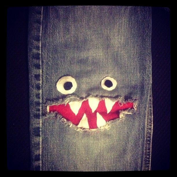 """""""Monster patched jeans for the boys"""" screw the boys! I want these and I'm a girl! Lol"""