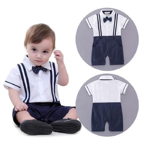 b85f89022faf Boys Baby clothing Gentleman Rompers Dots Bow Straps Summer One ...