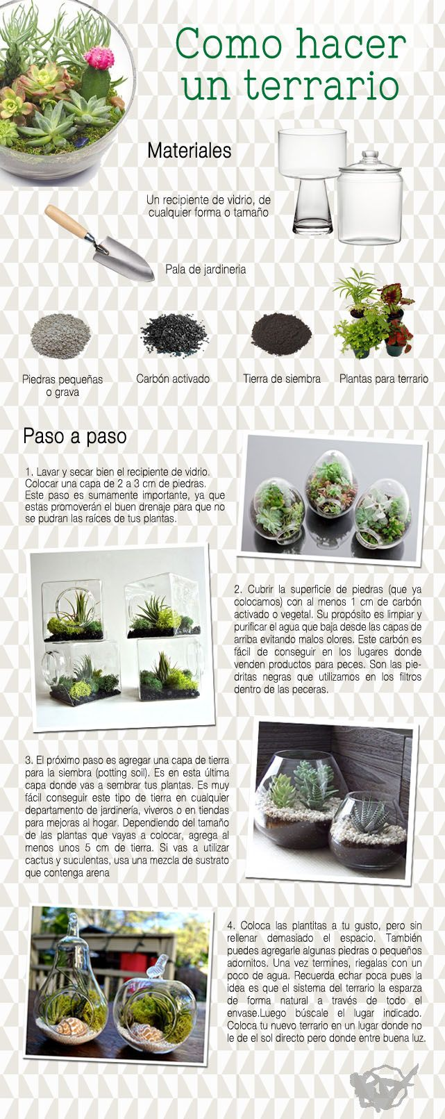 Un terrario es básicamente un invernadero miniatura donde se reproducen ciertas condiciones ambientales que ayudan a mantener vivo un pequeño jardín dentro de un envase, usualmente de cristal. Crear