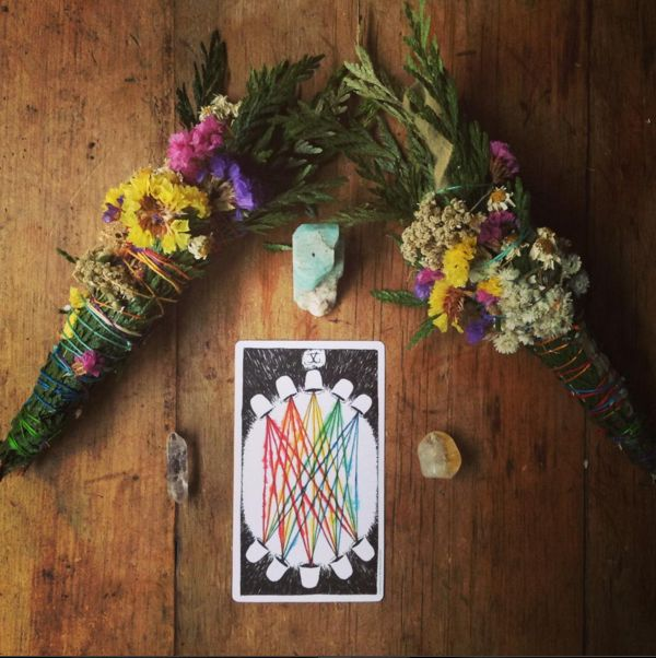 the wild unknown tarot image via @thewomanwhomarriedabear  smudge stick, tarot card, ten of cups, card a day, crystals