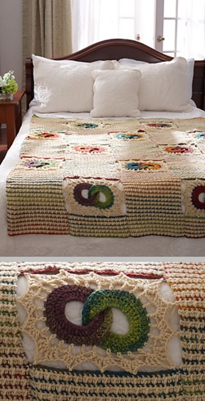 Bernat Mosaic Yarn Free Crochet Patterns : Wedding Rings Blanket, free pattern from Bernat. 50