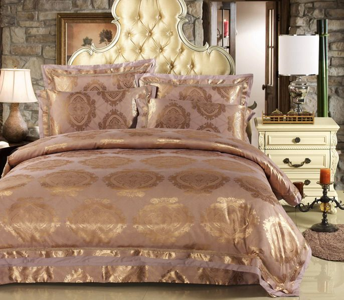 Barato cetim de luxo jacquard conjunto de cama king queen for Cama queen size vs king size