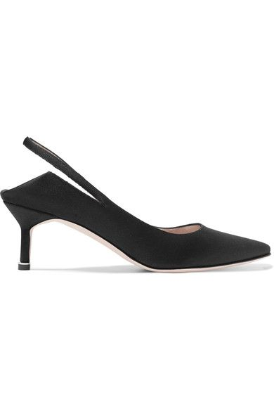 Vetements - Manolo Blahnik Satin Slingback Pumps - Black - IT