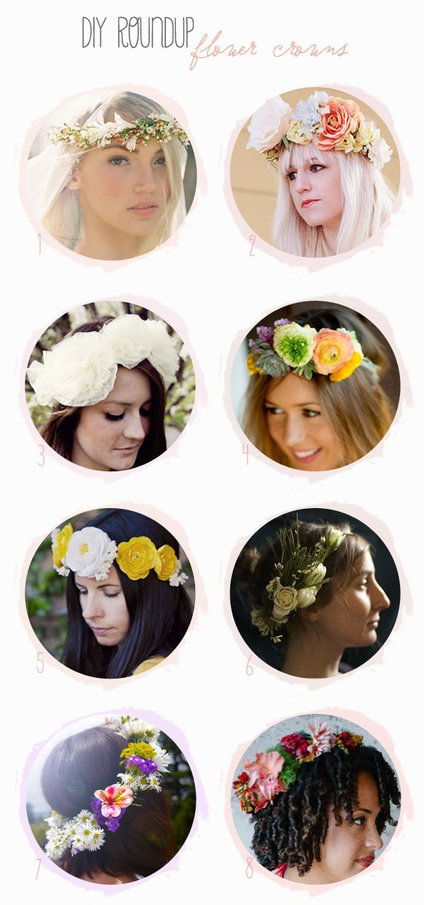 Friday DIY Roundup: Flower Crowns   boho bride shoot-with links to sources and some how-to's