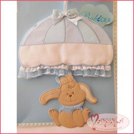 Fiocco nascita coccarda da ricamare punto croce coniglietto paracadute azzurro
