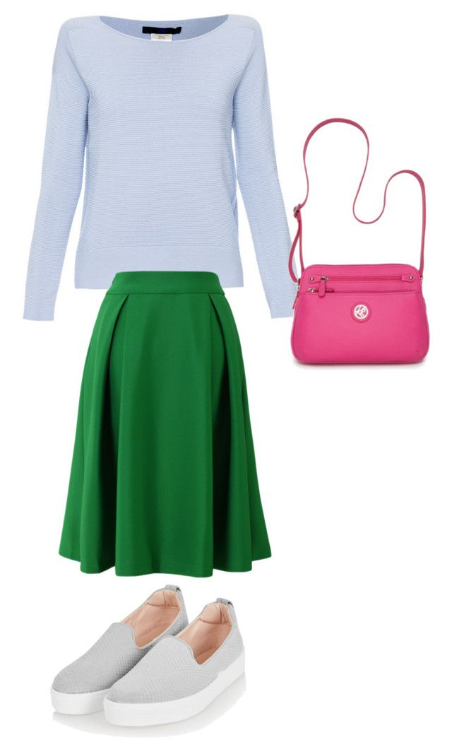 """Green+pink"" by sofya-2 on Polyvore featuring Les Copains, Chicwish, Topshop and Kim Rogers"