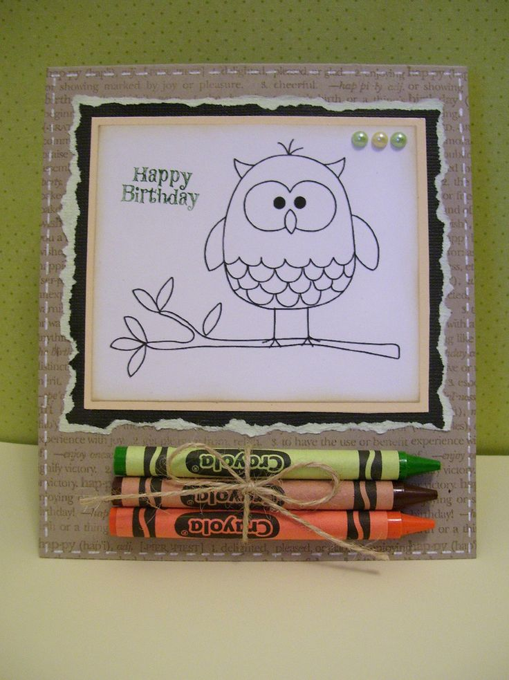 https://flic.kr/p/acrVrM | kids coloring card | Used hero arts sweet owls printable &  put it on a card base with some crayons for a fun kids card. (took all i had not to color the cute little owl in)